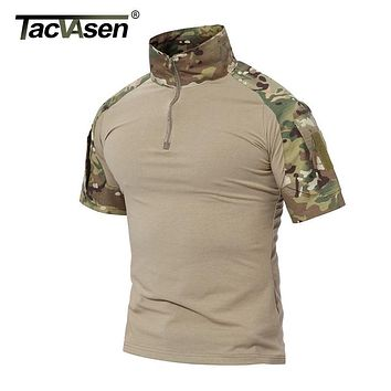 TACVASEN Summer Brand Clothing 2017 New Mens Tactical T Shirt Shorts Army Military Camouflage T-Shirts Cotton Top Tee Shirts