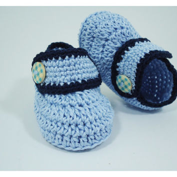 """Crochet Baby shoes, Baby shoes, Custom baby shoes, fashion baby shoes, baby accessories - For him - Blue version - Up to 12 cm (4.7"""")"""