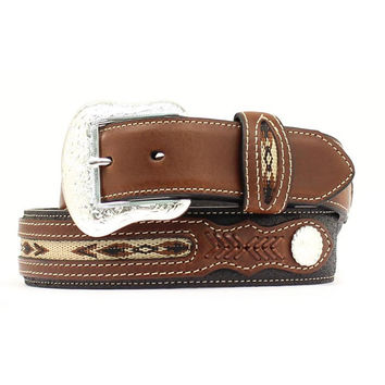 Nocona Mens Black Brown Southwestern Inlay Leather Belt