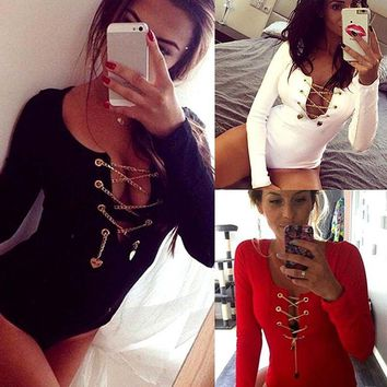 Sexy Women's Fashion Leotard Bodysuit Fashion Ladies Sexy Lace Up Long Sleeve Bodysuit Women Clothing
