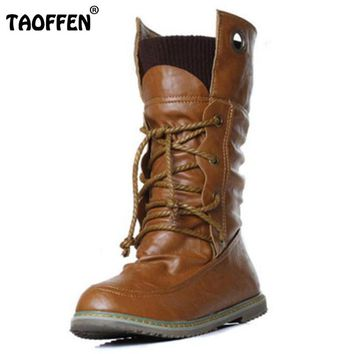 TAOFFEN Plus Size 32-52 Vintage Motorcycle Ankle Boots For Women Winter Autumn Snow Boots Leather Flats Motorcycle Boots Shoes