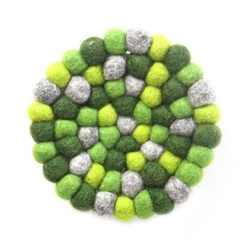 Hand Crafted Felt Ball Trivets from Nepal: Round Chakra, Greens - Global Groove (T)