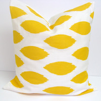 Spot Pillow.Yellow.18x18 inch.Decorator Pillow Covers.Printed Fabric Front and Back.Ikat Pillow.Yellow Pillow
