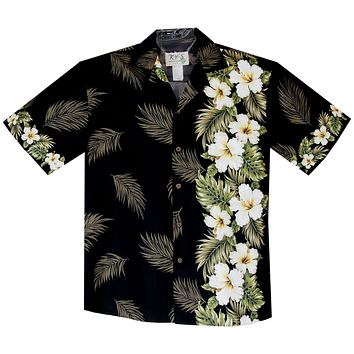 Hibiscus Black Vertical Border Hawaiian Shirt