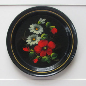 Russian Hand Painted Metal Tray with Flowers 1940s