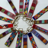 ON SALE colorful wristlet fob, unique hand woven wrist lanyard, tribal print,