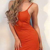 Orange Square Neckline Spaghetti Strap Bodycon Dress