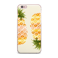 """Judith Loske """"Happy Pineapples """" Yellow Gold iPhone Case"""