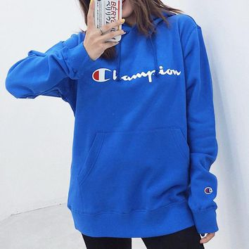 Champion New fashion letter print couple high quality hooded long sleeve sweater Blue