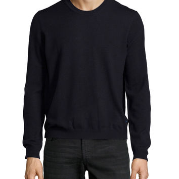 Men's Crewneck Merino Sweater, Blue Navy - Just Cavalli - Blue navy (MEDIUM)