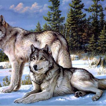 New mosaic  laid diamond  picture painting embroidery beads Snow forest wolf animal beads cross stitch kit wedding decor CQ69