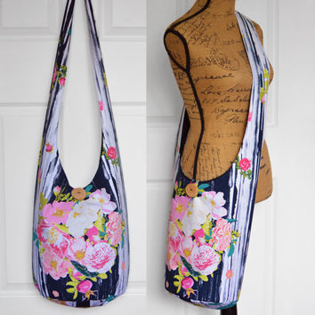 Hobo Bag Hippie Purse Crossbody Bag Sling Bag Hippie Bag Boho Bag Bohemian Purse Floral Handmade Purse Hobo Purse Slouch Bag Hippie Bag