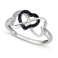 Diamond Fashion Heart Ring in Sterling Silver 0.1 ctw