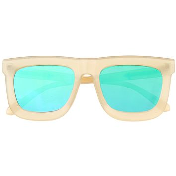 Hipster Flat Front Square Horned Rim Mirror Lens Sunglasses A143
