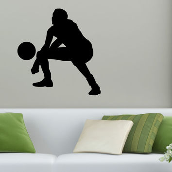 Volleyball Wall Sticker Decal - Female Defense Player Blocking Silhouette Decoration - #10