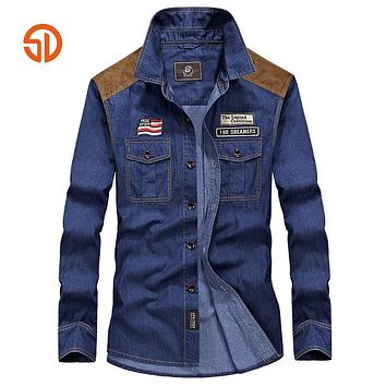 Fashion Cotton Denim Shirt Men Long Sleeves Shirt Men Casual Shirts For Man High Quality Jeans Shirts