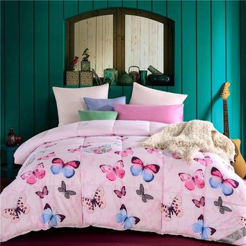 Fashion Printed Quilting Summer Comforter Quilt Twin/Queen Size Stitching Cotton Blankets Plaids Polyester Filler Bedding