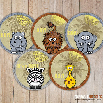Safari jungle boy baby shower decoration / DIY digital printable cupcake toppers / Sweet zoo animals printable stickers / Instant download