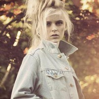 Hand painted Light Denim Studded Jacket with pocket detail from We Are Hairy People