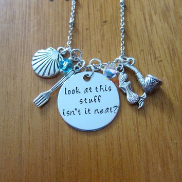 "Ariel Inspired Little Mermaid Necklace. ""Look at this stuff isn't it neat?"". Little Mermaid gift. Little Mermaid jewelry. Swarovski crystals"