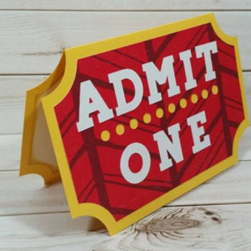 Handmade Gift Card Holder, Stocking Stuffer, Movie Ticket Card, Movie Ticket Gift Card Holder, Admit One Ticket Shaped Greeting Card, Movies