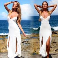 Double Side Slit Spaghetti Strap Beach Dress