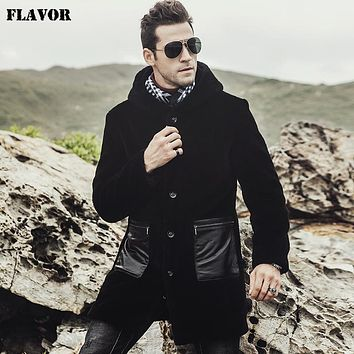 New Men's Genuine Lamb fur Coat Hooded Real Fur Trench coat