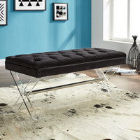 Armen Living Joanna Ottoman Bench in Black Tufted Velvet with Crystal Buttons and Acrylic Legs