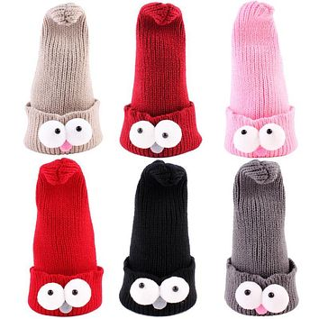 Winter Baby Warm Hats Infant Cartoon Eyes Knitted Cap Newborn Kids Hat Children Boys Girls Cute Warm Cap