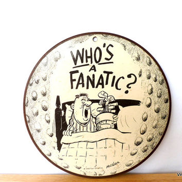 Vintage Funny Golfer's Wall Hanging Wall Plaque 1960s Cartoon Illustration Fanatic Golf Player Sports Gift Fathers Day
