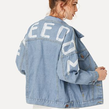 Letter Print Drop Shoulder Denim Jacket -SheIn(Sheinside)