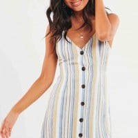 Bamenda Dress - Beige-Blue Stripe