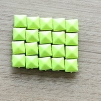50pcs of Neon yellow Pyramid Studs For Craft - 9 mm