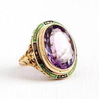 Vintage Enamel Ring - Antique Art Deco 14k Yellow Gold 9.42 CT Amethyst Gemstone Statement - 1920s Size 6 3/4 Filigree Purple Fine Jewelry