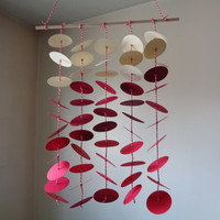 Red ombre floating circle paper mobile! Baby Nursery mobile, Crib mobile. Boy/Girl/Teen/Tween mobile. Gift, Birthday, Choose Your Colors!
