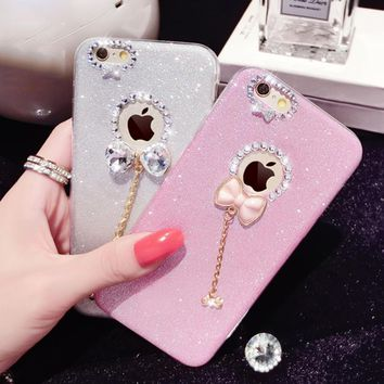 Funda 6 Fashion Bling Glitter Candy Powder Cover Luxury Crystal bow-knot Soft TPU Phone Cases For iPhone 5 5s SE 6 6s Plus Capa