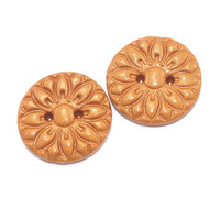 Gold color flower texture buttons, 2 Polymer Clay big buttons, unique add for bag, bolero and jacket decoration