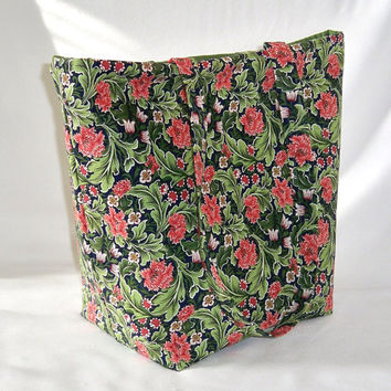 Floral Tote Bag, Cloth Purse, Handmade Handbag, Green, Coral, Flowers, Leaves, Fabric Bag, Shoulder Bag, Market Bag