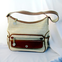 Liz Claiborne Hand Bag Tan And Brown Woven Design Lots Of Pockets Water Resistant Summer Purse Vintage Collectible Gift Item 2172