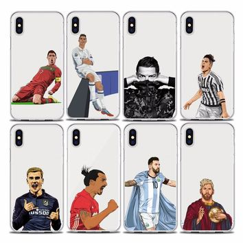 DIFFRBEAUTY Soccer Star Back Cover Phone Cases For iPhone 5s SE 6s 7 8 plus X Real Madrid Futbol Ronaldo CR7 Lionel messi Case