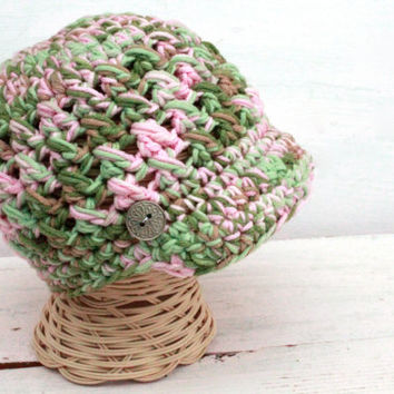 Crochet Girl Newsboy, Pink Camo Newsboy, Crochet Girl Hat