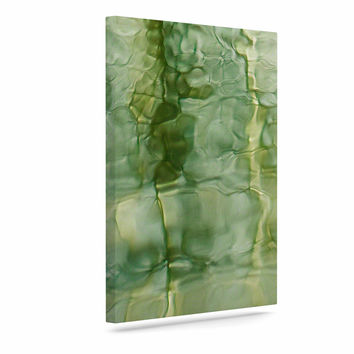 "Malia Shields ""Fluidity Series #3"" Green Abstract Canvas Art"
