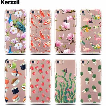 Kerzzil Slim Printed Lotus Cactus Flamingo Unicorn Case For iPhone 6 6s Clear Silicone Tpu Back Cover For iPhone 6 7 6S Capa