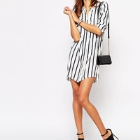 Vila Vertical Stripe Shirt Dress
