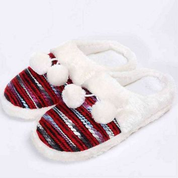 Colorful Cozy Knit Slippers (Red)