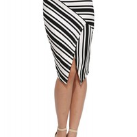 Dana Envelope Striped Midi Skirt