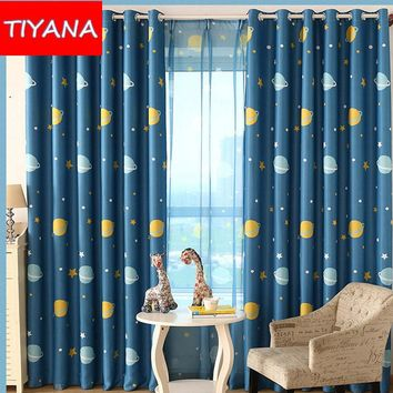 Cartoon Blue Planets Curtains For Living Room Custom Made Blackout Kids Curtain Fabric For Boys Bedroom Finished Cortinas WP3553
