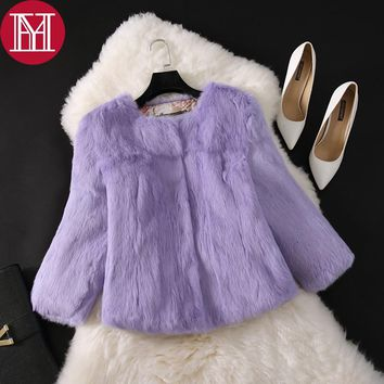 2017 New Real Natural Rabbit Fur Coat Women 100% Real Rabbit Fur Jacket Free Shipping Low Sale Quality Real Rabbit Fur Outerwear