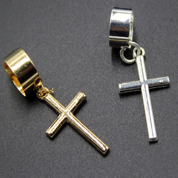 Cross Earrings No pierced ear required - cross ear cuff wrap EH002