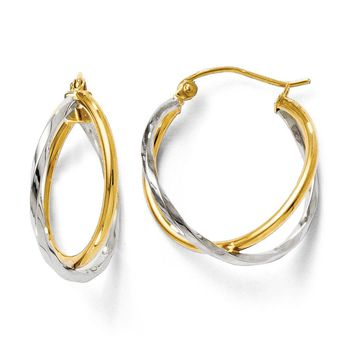 Polished Twisted Double Hoop Earrings in 14k Two Tone Gold, 22mm